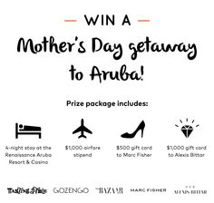 Enter to win a Mother's Day getaway to Aruba and an incredible prize package inclusive of fashion, jewelry and more! Next stop, chic.