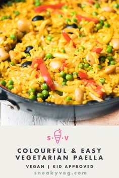 Jan 2020 - A delicious easy vegetarian paella recipe. This colourful dish is easily adapted to include whichever vegetables you love. Suitable for vegans. Vegetarian Paella, Vegetarian Meals For Kids, Tasty Vegetarian Recipes, Healthy Meals For Kids, Vegetable Recipes, Easy Meals, Healthy Recipes, Vegan Dinners