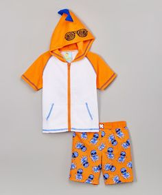 Look at this #zulilyfind! Orange Pineapple Hooded Rashguard Set - Infant, Toddler & Boys #zulilyfinds