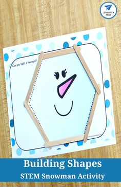 This STEM activity set invites children to use craft sticks to build shapes on snowman-themed shape mats. There are six shapes in the set. Preschool Learning, Kindergarten Activities, Preschool Ideas, Preschool Shapes, Stem Preschool, Stem Learning, Early Learning, Learning Activities, Teaching Ideas
