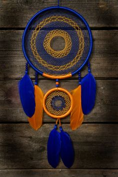 Dream catcher, blue dreamcatcher, handmade dream catcher, orange Dream catcher…