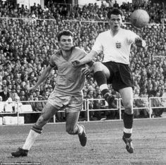 Brazil 0 England 0 in 1958 in Gothenberg. Bobby Robson intercepts thus ball for Mazola in Group 4 at the World Cup Finals.