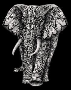 Aztec elephant Black background drawing #graphic #art #hand drawing