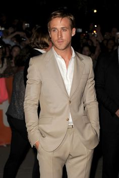"Ryan Gosling in the ""I'm Just Too Pretty to Sleep With"" tan suit."
