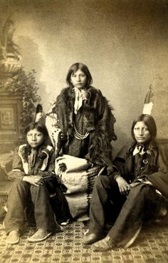Three Sioux students as they arrived at the Carlisle Indian School in 1883
