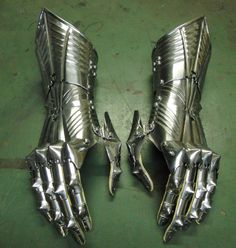 pair of late gothic gauntlets, ready for sewing in the gloves;
