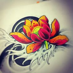 tattoo art Japanese Lotus by willemxsm Lotus Tattoo Design, Flower Tattoo Designs, Flower Tattoos, Japanese Lotus, Japanese Flower Tattoo, Japanese Flowers, Tattoo Sketchbook, Tattoo Sketches, Rauch Tattoo