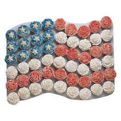 One Flag for all cupcakes. Making for 4th of July and Memorial day maybe