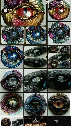 Polymer clay dragon eyes. Pendants or keyrings. Handmade with love. Available from CreativitiesKey on etsy.