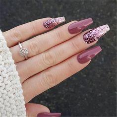 Nail Design Glitter, Acrylic Nails Coffin Glitter, Best Acrylic Nails, Coffin Nails, Nails Design, Acrylic Gel, Acrylic Nails Autumn, Autumn Nails, Simple Fall Nails