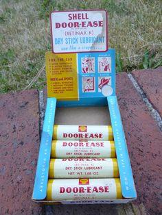 Vintage Shell Door Ease Dry Stick Lubricant w/ Display Gas Oil Advertising #Shell & Vintage Custom Metric Metal Works 5 LT-B Iron Case Gas Meter Clock ... Pezcame.Com