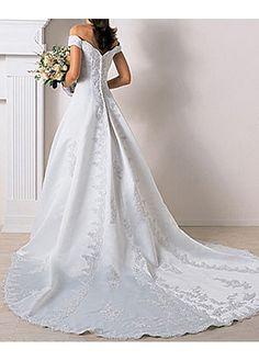 Beautiful Elegant Satin Ball Gown Off-the-shoulder Wedding Dress In Great Handwork
