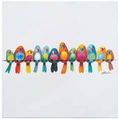 "20 in. H x 20 in. W ""Birds on a Wire Iii"" Artwork in Cotton Canvas Wall Art"
