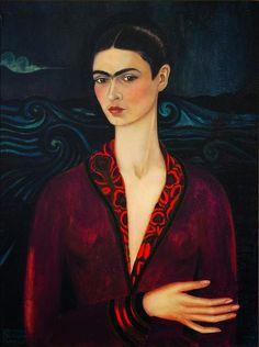 Frida Khalo, autoportrait à la robe de velours, 1926, collection privée. C'est le deuxième tableau de Frida Kahlo. Peint juste après son accident de bus (qui lui laissera des séquelles terribles), elle le confiera dans un premier temps à Diego Rivera, déjà célèbre peintre mexicain, qui sera plus tard son amant puis mari.   Pourquoi Frida aurait peint ce tableau ? voir sur http://www.3e-art.fr/2014_05_01_archive.html