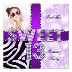 Sweet 13th Birthday Party Girls 13 Teen Purple Card Best 13th