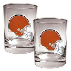 Football Fan Shop Cleveland Browns 2pc Rocks Glass Set