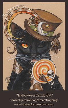 Halloween Candy Cat Art Print You Choose 2.5x3.5 5x7 or by natamon