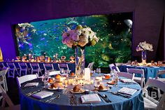 aquarium wedding centerpiece, table settings and linens