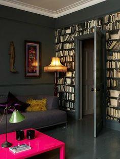 fake bookshelves decorating wallpaper