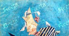 Tempera su carta applicata su tela  75cm x 100cm  ♦  Recta Galleria d'arte -  Roma - Pittori e dipinti dell'ottocento e novecento, arte e scultura 800 e primo 900