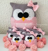 owls - pink and gray with a pretty bow Owl Sewing, Sewing Toys, Sewing For Kids, Sewing Crafts, Sewing Projects, Owl Crafts, Diy Arts And Crafts, Owl Fabric, Fabric Crafts