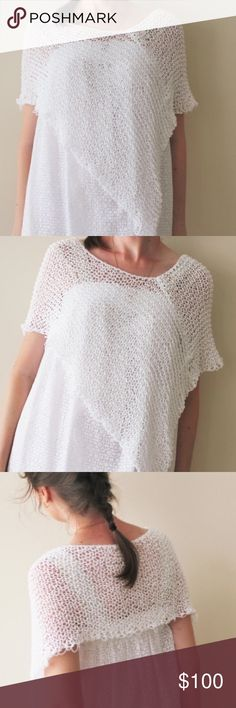 Handmade Poncho My new creation hand knitted poncho made from cotton and premium acrylic.  Lovely, Delicate, Soft, Light, Feminine, Beautiful – all of these perfectly describe this elegant summer time poncho.  You can wear with a jeans and with a dress or a skirt on the wedding or on evening party.  One size fits all.  Gentle/delicate wash in machine or hands. Dry a flat. Other
