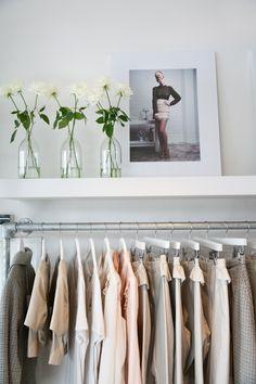 simple tubular steel frame and white shelf - dressing room/walk in wardrobe