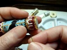 Peyote Stitch Bead Work How to Remove & Replace the Wrong Bead - Beaded Needle Cases by Beth Murr