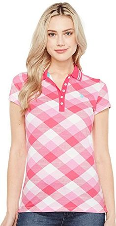 d4b715543a1d Amazon.com  U.S. POLO ASSN. Women s Plaid Pique Polo Shirt Shocking Fuchsia  Shirt  Clothing
