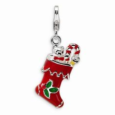 Red Filled Christmas Stocking 3-D Charm By Amore La Vita