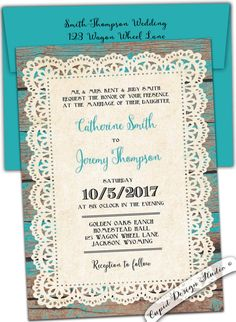 New to CupidDesigns on Etsy: Rustic wedding invitation. Country. Lace and wood. Western. Vintage. Teal. Turquoise. Barn wood custom personalized printable diy template (50.00 USD)