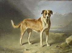 Bernard te Gempt | Sint Bernardshond, Bernard te Gempt, c. 1850 - c. 1879 | Een sint-bernardshond, staand in een landschap, met in de verte bergen.