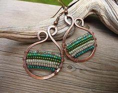 boho earrings, copper wire jewelry, woven copper earrings, seed bead earrings, boho jewelry, colorful earrings wire wrapped jewelry handmade