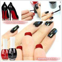Find us on: www.facebook.com/NeoNailPL red black nails manicure