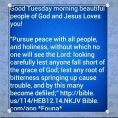 "Good Tuesday morning beautiful people of God and Jesus Loves you!   ""Pursue peace with all people, and holiness, without which no one will see the Lord: looking carefully lest anyone fall short of the grace of God; lest any root of bitterness springing up cause trouble, and by this many become defiled;"" http://bible.us/114/HEB12.14.NKJV Bible.com/app *Founa*"