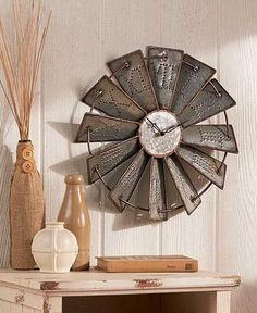 Wall Clock Metal Windmill New Rustic Large Round Embossed Farm Country Clocks