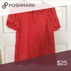 Hi There Anthropologie red polka dot top 2 Excellent condition 100% polyester size 2 Anthropologie Tops