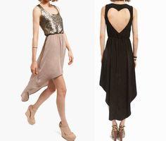Heart-shaped hollow sequined sleeveless chiffon dress Awf