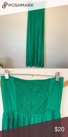Green maxi dress Has front opening, kinda like a high-low detail but on an angle. Back panel has stretch. Venus Dresses Maxi