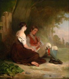 Oil-painting-Haynes-King-Young-boy-playing-flute-with-his-girlfriend-canvas