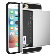 Practical phone case with bump protection and compartment for credit cards or ID. Ideal for men and woman.