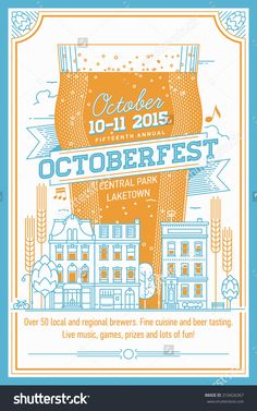 Beautiful Octoberfest Beer Festival Vector Poster, Or Flyer In Retro Style | Annual Beer Festival Even Invitation Template With Lettering, Nonic Beer Glass, Townhouses City Street, Hops And More - 310426367 : Shutterstock
