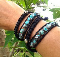 Happy wrap bracelet: 4 wrap bracelet mosaic turquoise gemstones