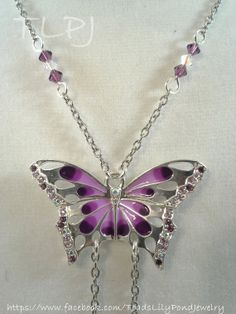 butterfly necklace purple butterfly by ToadsLilyPondJewelry, $84.00