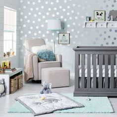 "Safari Chevron Nursery Room in ""Sea Salt"" color. Luv the dots. Elephant Nursery Decor, Nursery Room, Girl Nursery, Girl Room, Nursery Ideas, Aqua Nursery, Room Ideas, Child's Room, Themed Nursery"
