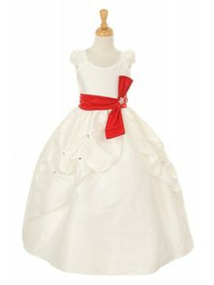 fe860d8e30e Ivory Poly Dupiono Pick Up Girl Dress