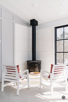 Sunroom with gas stove at The Ginger Home Wood Stove Surround, Wood Stove Hearth, Brick Hearth, Wood Burner, Brick Fireplace Makeover, Wood Fireplace, Fireplace Remodel, Fireplace Design, Stove Fireplace