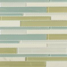 """Shop 12""""x12 Nexus Primavera Random Brick Polished + Frosted Glass & Stone Tile in Super White + Shades of Green at TileBar.com."""