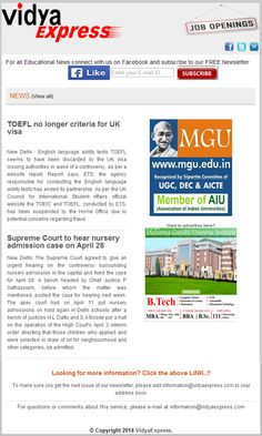 """#news#vidyaexpress- """"Supreme Court to hear nursery admission case on April 28"""" More information about Nursery Admission Case Visit Online: http://www.vidyaexpress.com/newsletter/newsletter13/newslttr13.php"""