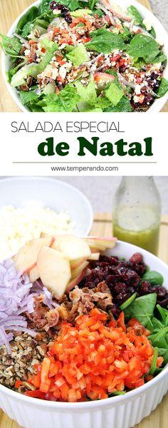 SALADA DE NATAL - receita de uma salada saborosíssima, fácil de fazer e ao mesmo tempo sofisticada. Perfeita para a ceia de Natal #saladas #receita #natal